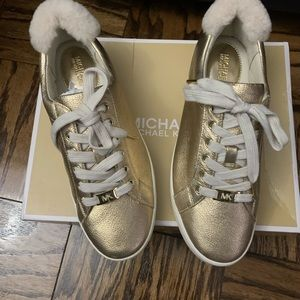 Michael Kors Gold Leather Sneakers, With Fur Back.